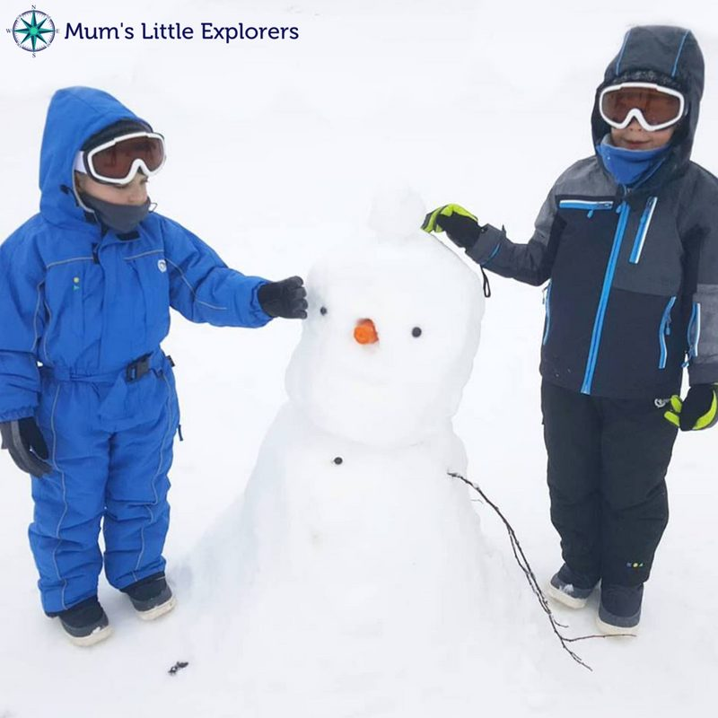 Making Snowman at Lake Mountain