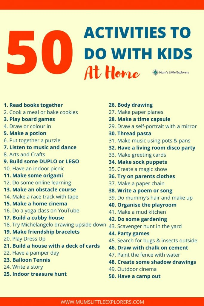 50 Activities to do with Kids at Home