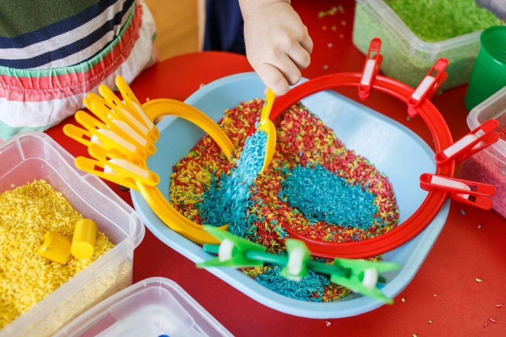 Coloured rice sensory activity