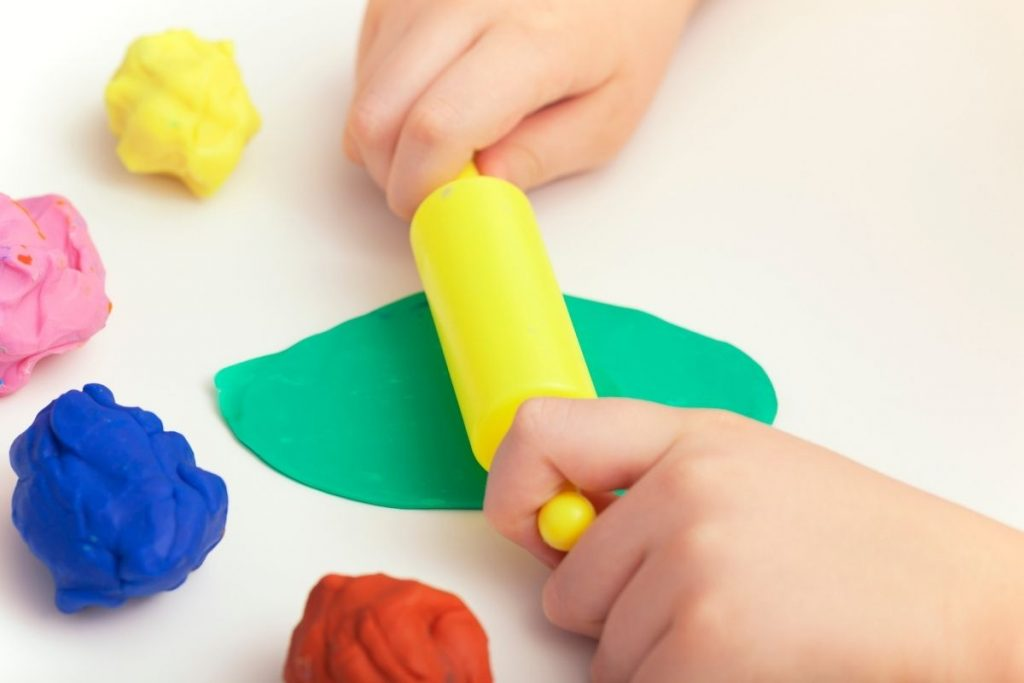 Playdough sensory activity for toddlers