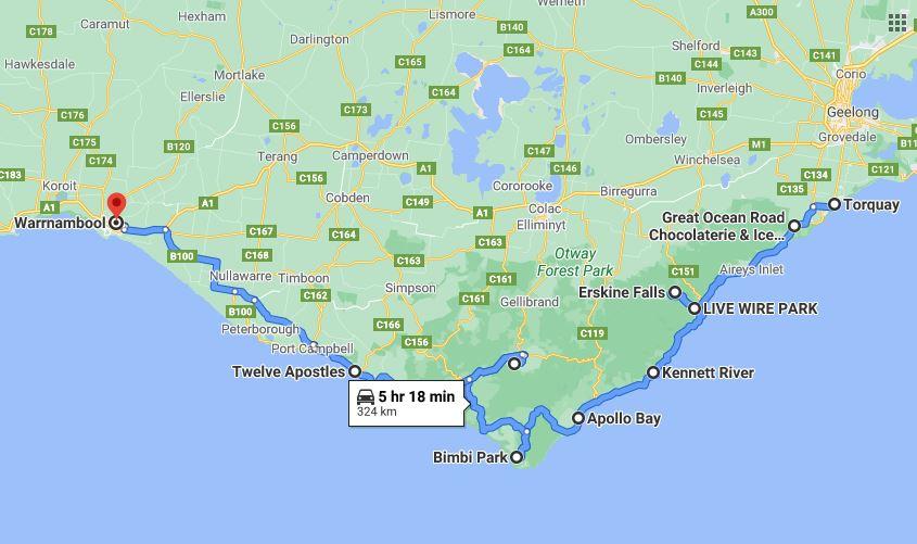 Great Ocean Road Map Road Trip