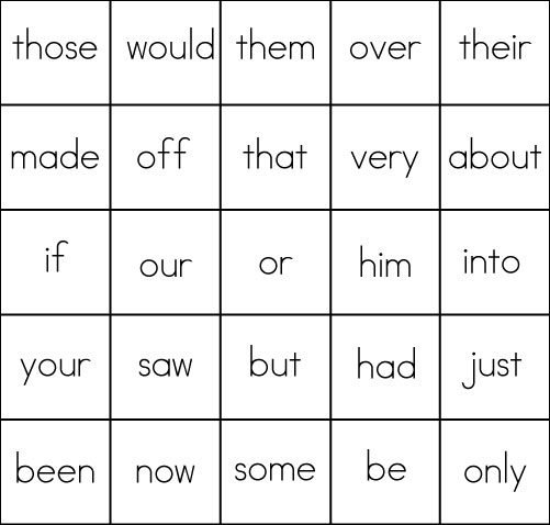 Sight Word Game Bingo