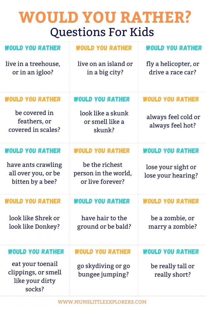 Would you rather questions for kids 3