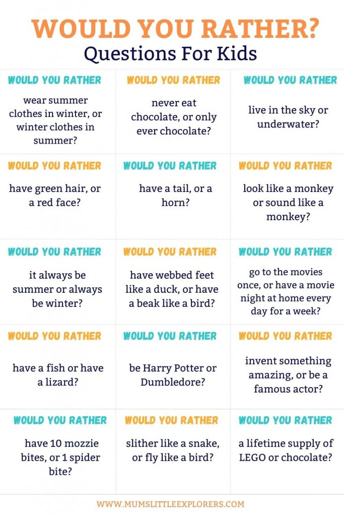 Would you rather questions for kids 5