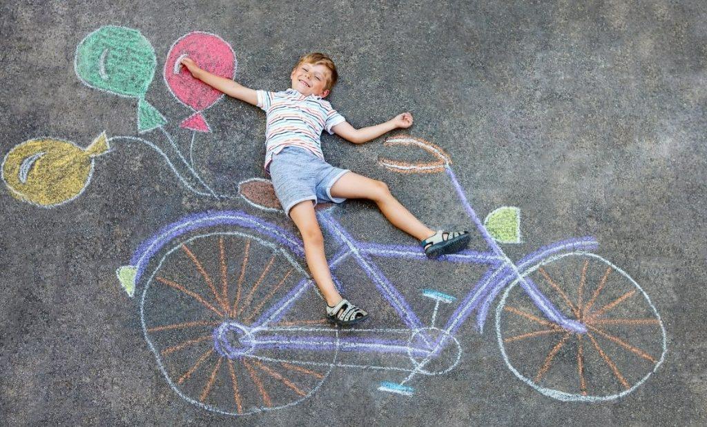 Chalk Mural Summer activity for kids
