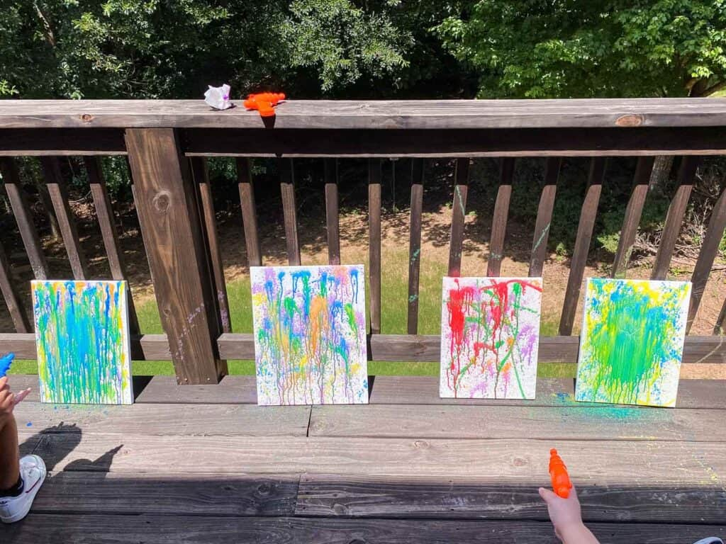 Water pistol painting summer activity for kids